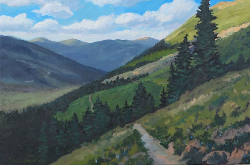Phase eleven — the final painitng of Dawn Chandler's oil painting evolution of a view along Santa Fe Rail Trail transformed into a view of the Wheeler Peak Trail
