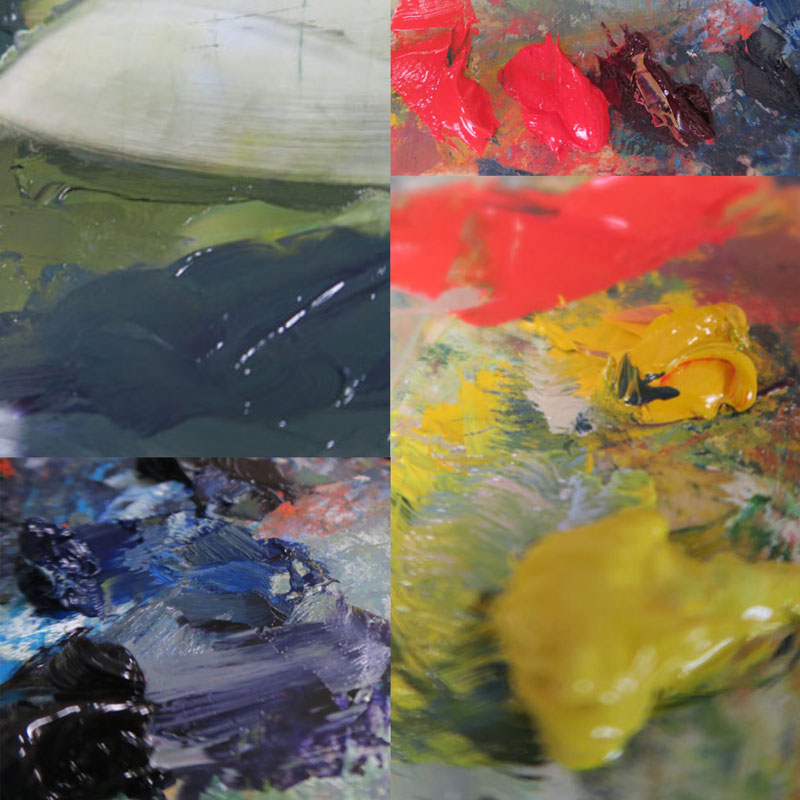 Among the colors on Dawn Chandler's studio oil painting palette