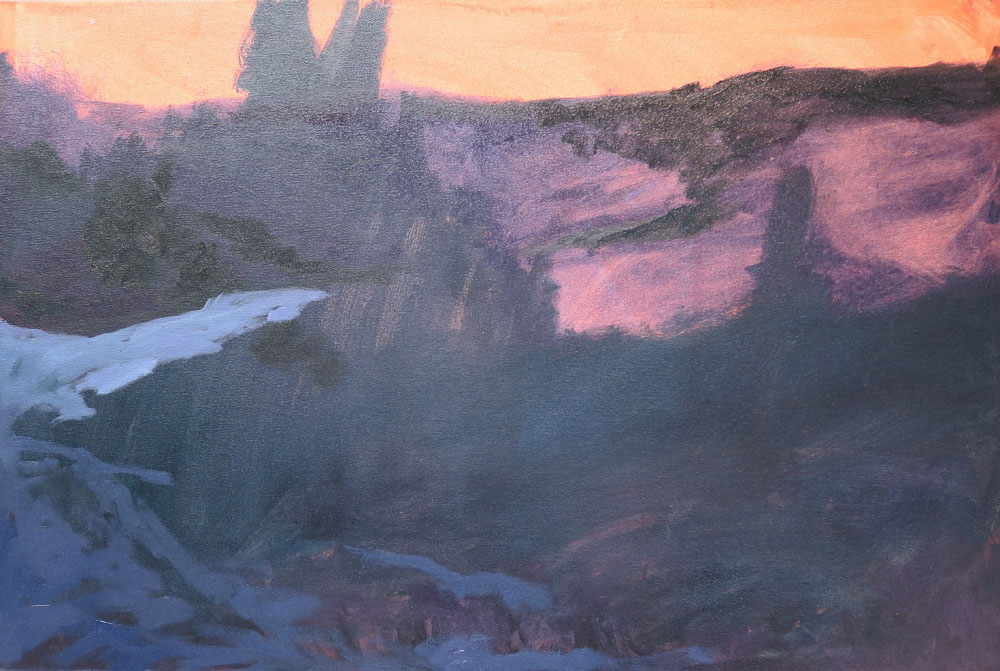 Phase one of Dawn Chandler's oil painting of a view along Santa Fe Rail Trail