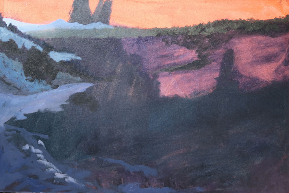 Phase two of Dawn Chandler's oil painting of a view along Santa Fe Rail Trail