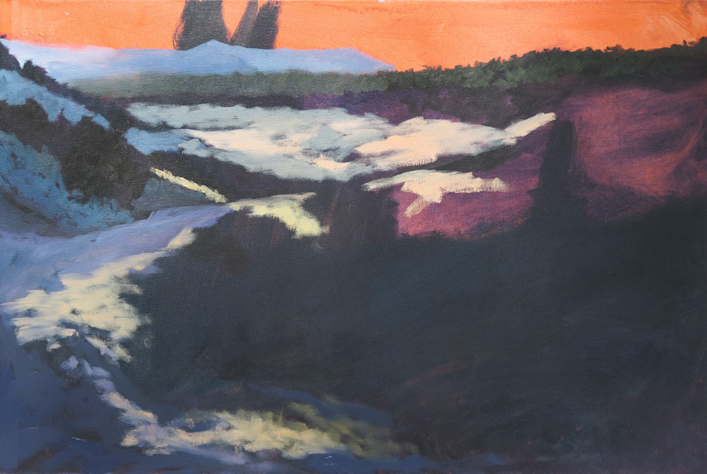 Phase three of Dawn Chandler's oil painting of a view along Santa Fe Rail Trail