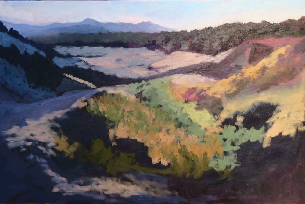 Phase four of Dawn Chandler's oil painting of a view along Santa Fe Rail Trail