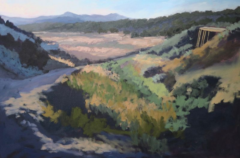 Phase five of Dawn Chandler's oil painting of a view along Santa Fe Rail Trail