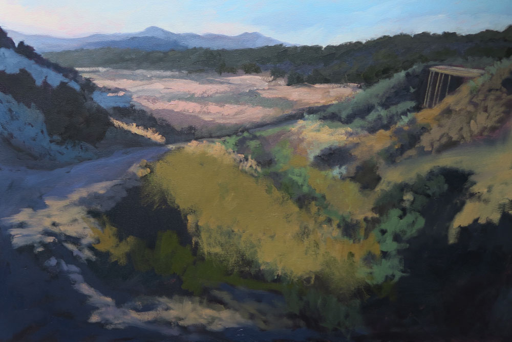 Phase six of Dawn Chandler's oil painting of a view along Santa Fe Rail Trail