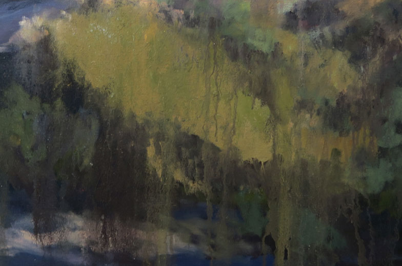 Detail of phase six of Dawn Chandler's oil painting of a view along Santa Fe Rail Trail