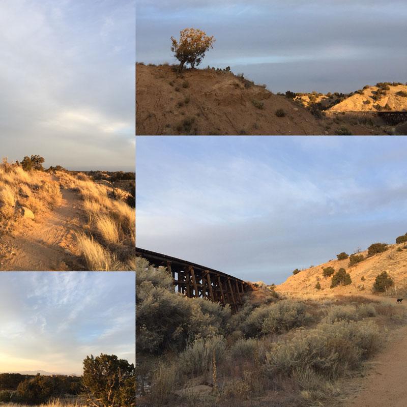 scenes from the winter rail trail by Santa Fe artist Dawn Chandler