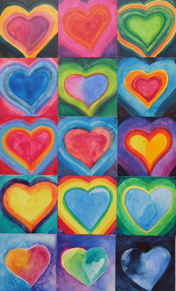 dawn chandler's winter watercolor hearts 2018