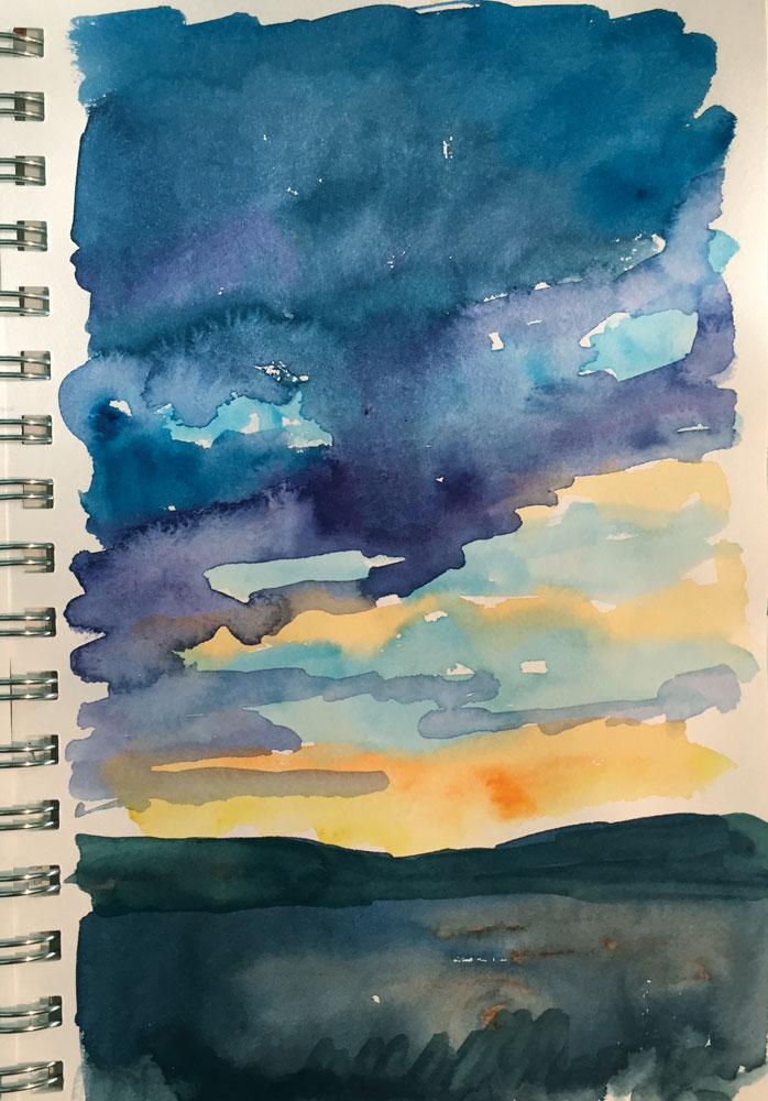 santa fe sunrise watercolor sketch by artist dawn chandler