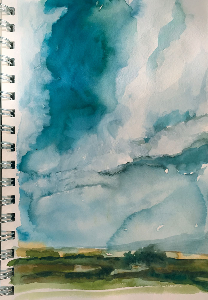 february morning across northwestern new mexico watercolor sketch by artist dawn chandler