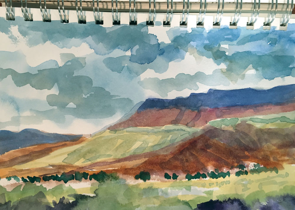new mexico mesa watercolor sketch by artist dawn chandler