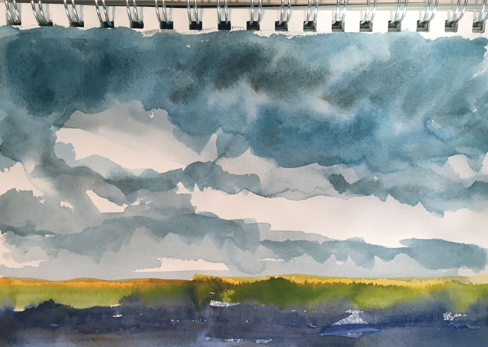new mexico cloud watercolor sketch by artist dawn chandler