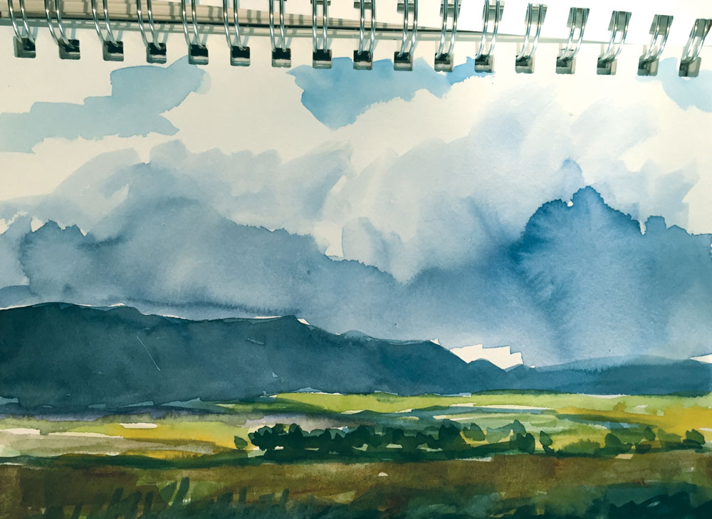 colorado fields and mesas watercolor sketch by artist dawn chandler
