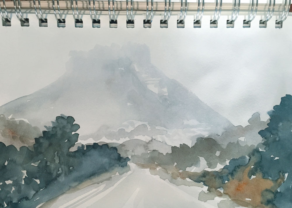 watercolor sketch driving up to Mesa Verde on a February morning, by Santa Fe artist Dawn Chandler