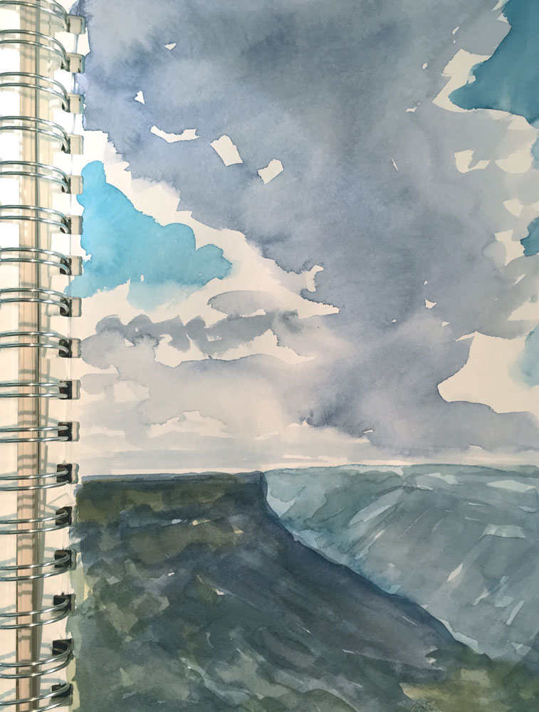 february mesa verde canyons and clouds sketch by artist dawn chandler