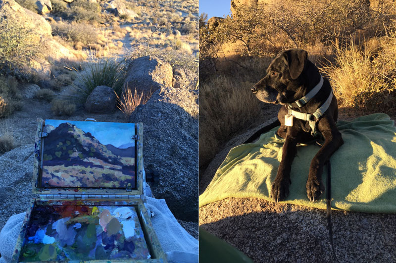 Dawn Chandler's birthday plein air session in the Albuquerque foothills, along with her painting mascot.