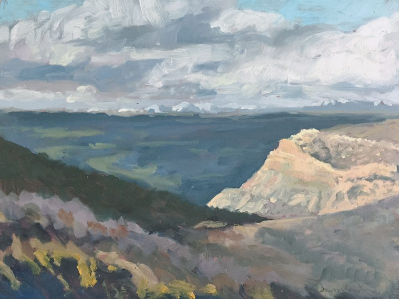 Mesa Verde, February late afternoon distant view, oil landscape painting en plein air by Santa Fe artist Dawn Chandler