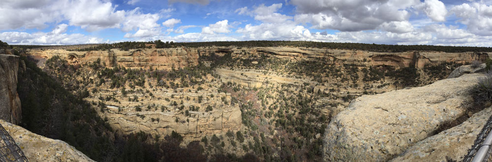 View into the deep canyons of Mesa Verde National Park, photo by Santa Fe artist Dawn Chandler