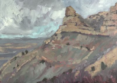 february morning - mesa verde - colorado - contemporary plein air oil landscape painting by santa fe artist dawn chandler