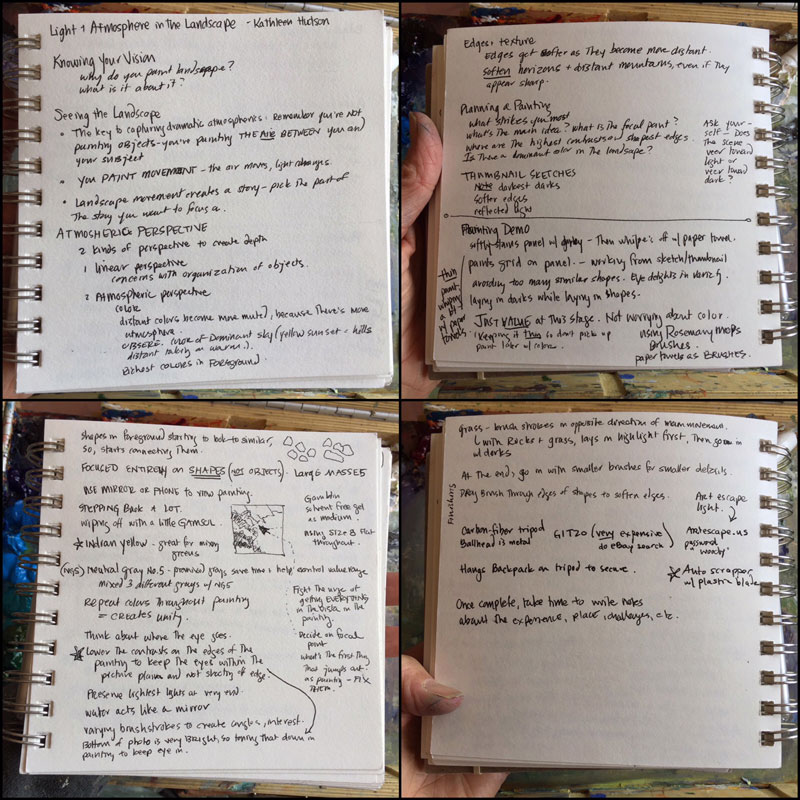 dawn chandler's notes from kathleen hudson's painting demo at plein air painting convention and expo, better known as PACE18