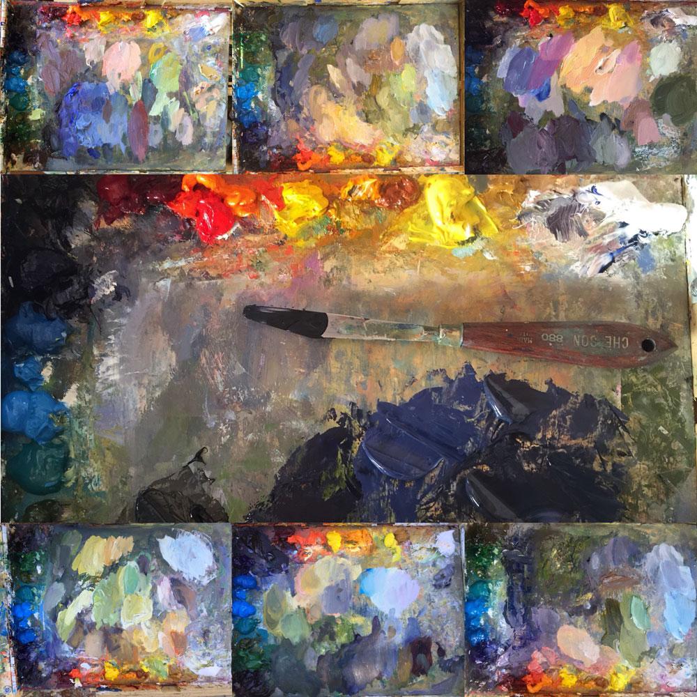 Artist Dawn Chandler's evolving paint palette during the 5-day Santa Fe Plein AIr Fiesta 2018