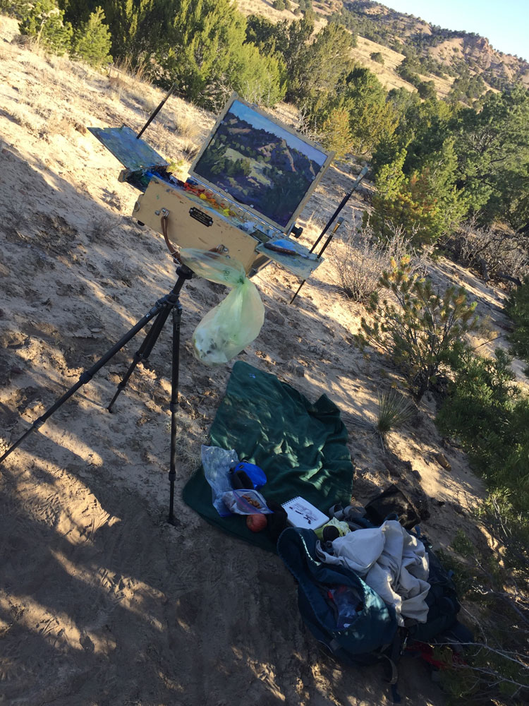 Artist Dawn Chandler's plein air painting set up during the Santa Fe Plein Air Fiesta 2018