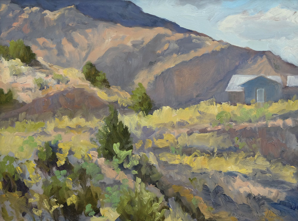 Dawn Chandler completed plein air painting of view in Dixon, New Mexico