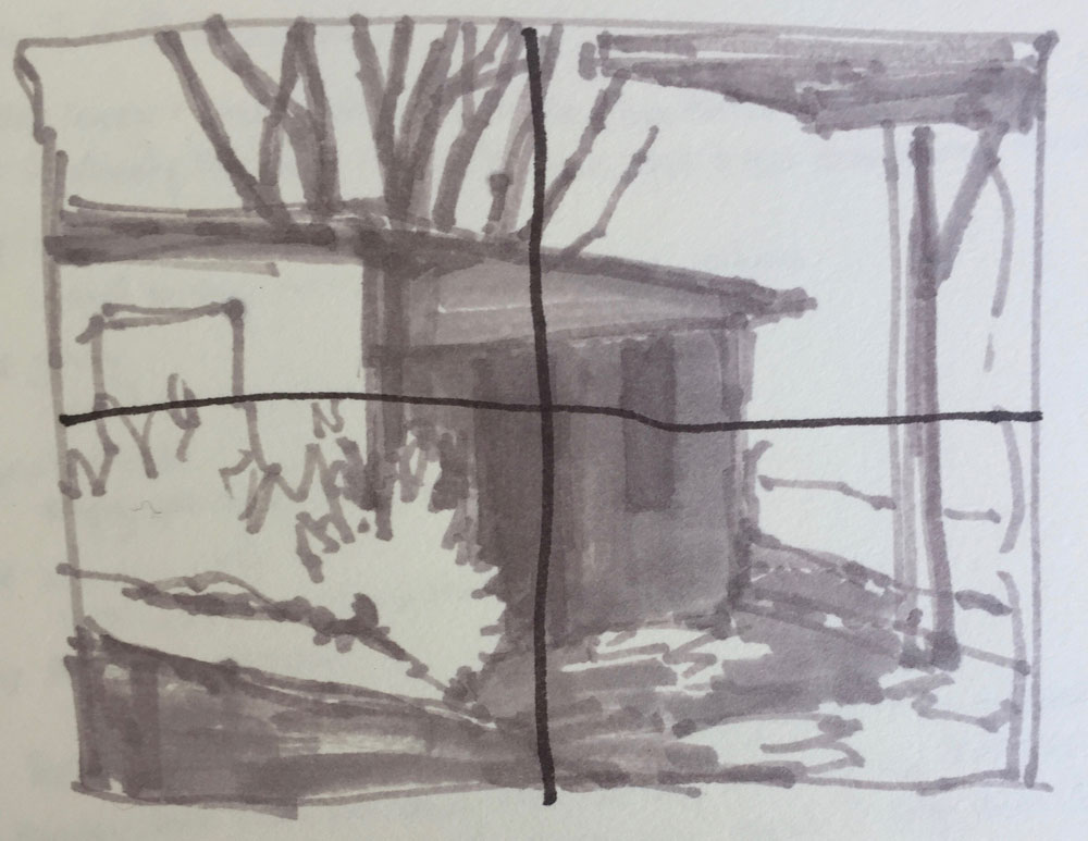 Notan sketch by artist Dawn Chandler of an adobe pottery shed in Dixon, New Mexico