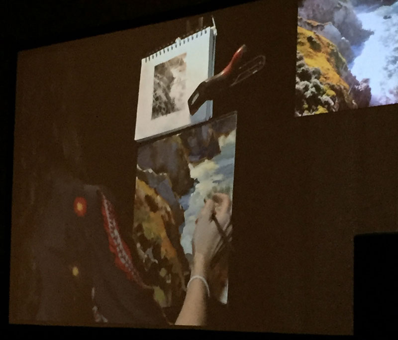 a close up of the demo screens during artist kathleen hudson's demonstration at the plein air painting convention and expo, better known as PACE18