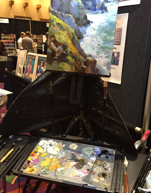 artist kathleen hudson's painting kit set up, at the plein air painting convention and expo, better known as PACE18