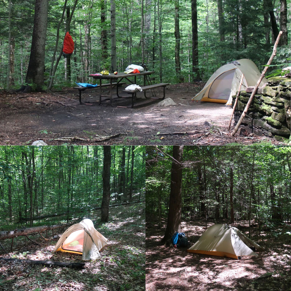 Along the Vermont Appalachian Trail - tenting in campsites - photo by TaosDawn - Santa Fe artist and backpacker Dawn Chandler