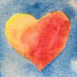 One of Dawn Chandler's tiny painted watercolor hearts.
