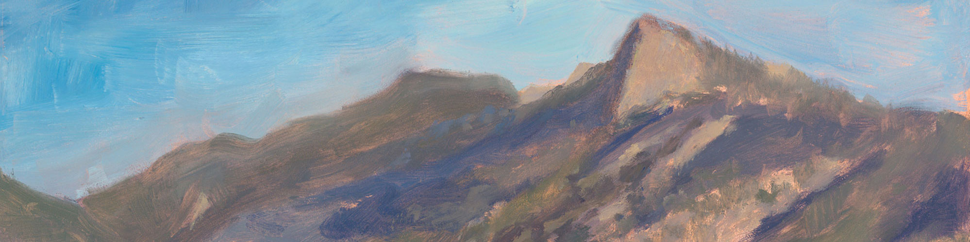 Detail of Dawn's oil painting A Philmont Morning is the Best Kind of Morning. It can be a challenge trying to figure out the color of the Tooth of Time!