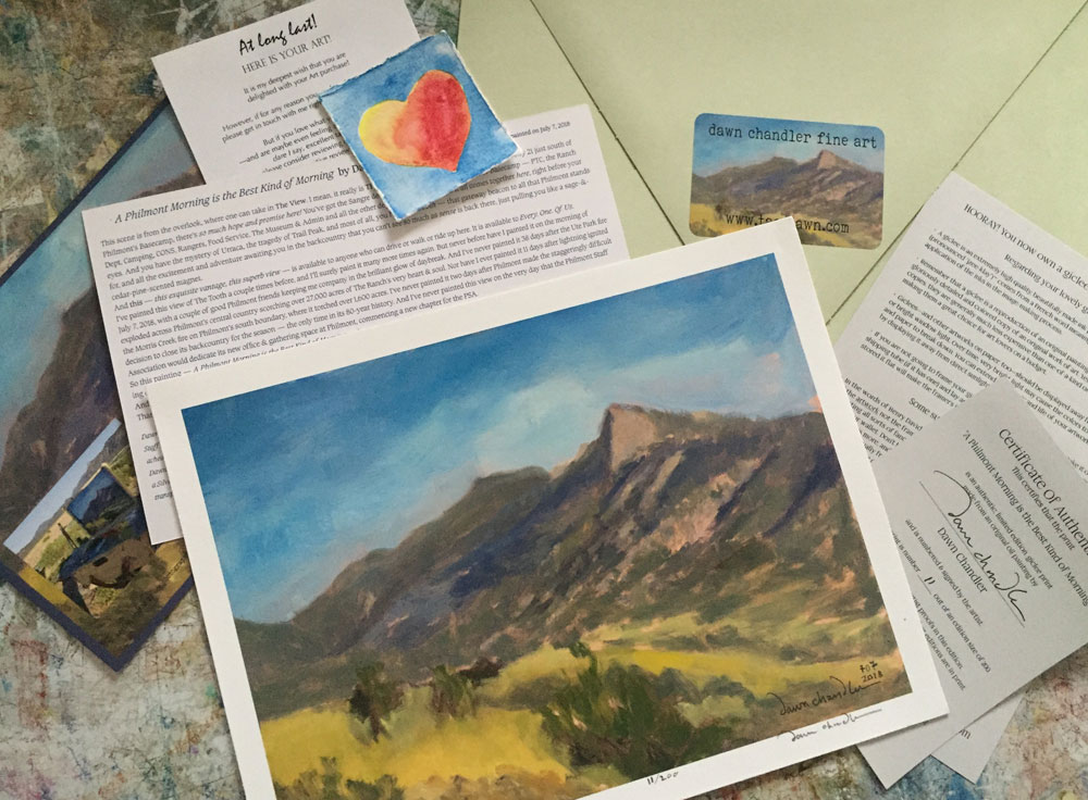 Newly released signed and numbered limited edition prints A Philmont Morning is the Best Kind of Morning by New Mexico painter Dawn Chandler.