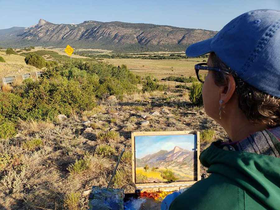 New Mexico painter Dawn Chandler plein air painting Philmont's Tooth of Time