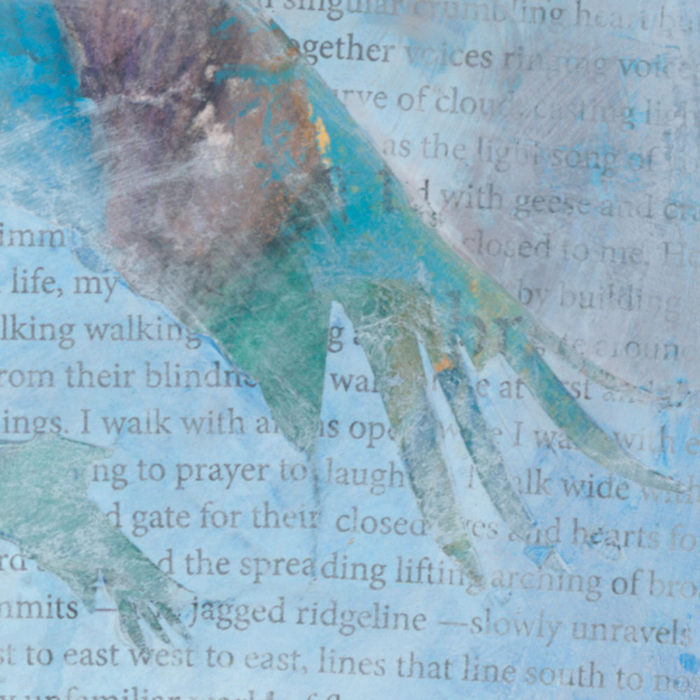 Their Wings Fill My Heart with Prayer — crane painting, iii, detail 02 — mixed media painting celebrating sandhill cranes by New Mexico artist Dawn Chandler