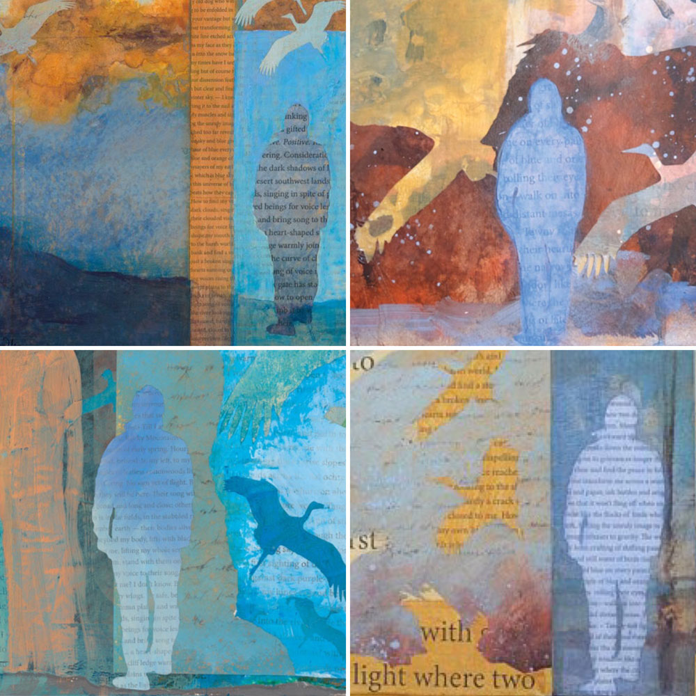 collage grid of four mixed media paintings with mysterious figures - paintings by Dawn Chandler