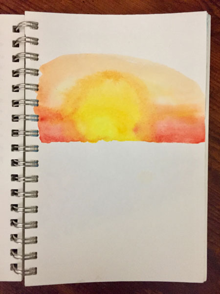 the beginnings of a watercolor of a philmont sunrise - by dawn chandler