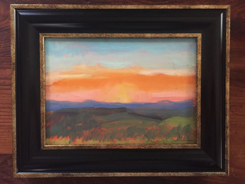 "'sunrise east of the ranch - philmont' by dawn chandler, oil on panel, 5"" x 7"" is now available for auction bidding"