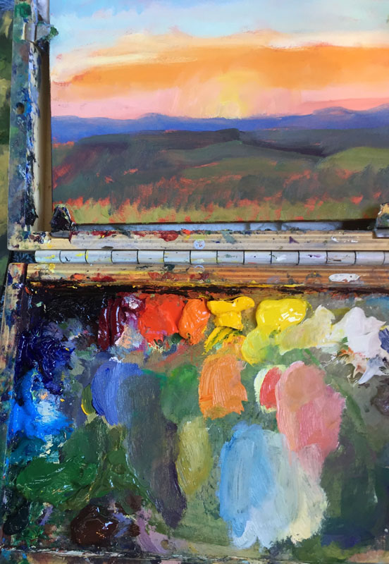 dawn chandler's new mexico sunrise oil painting palette and plein air painting of 'sunrise east of the ranch'