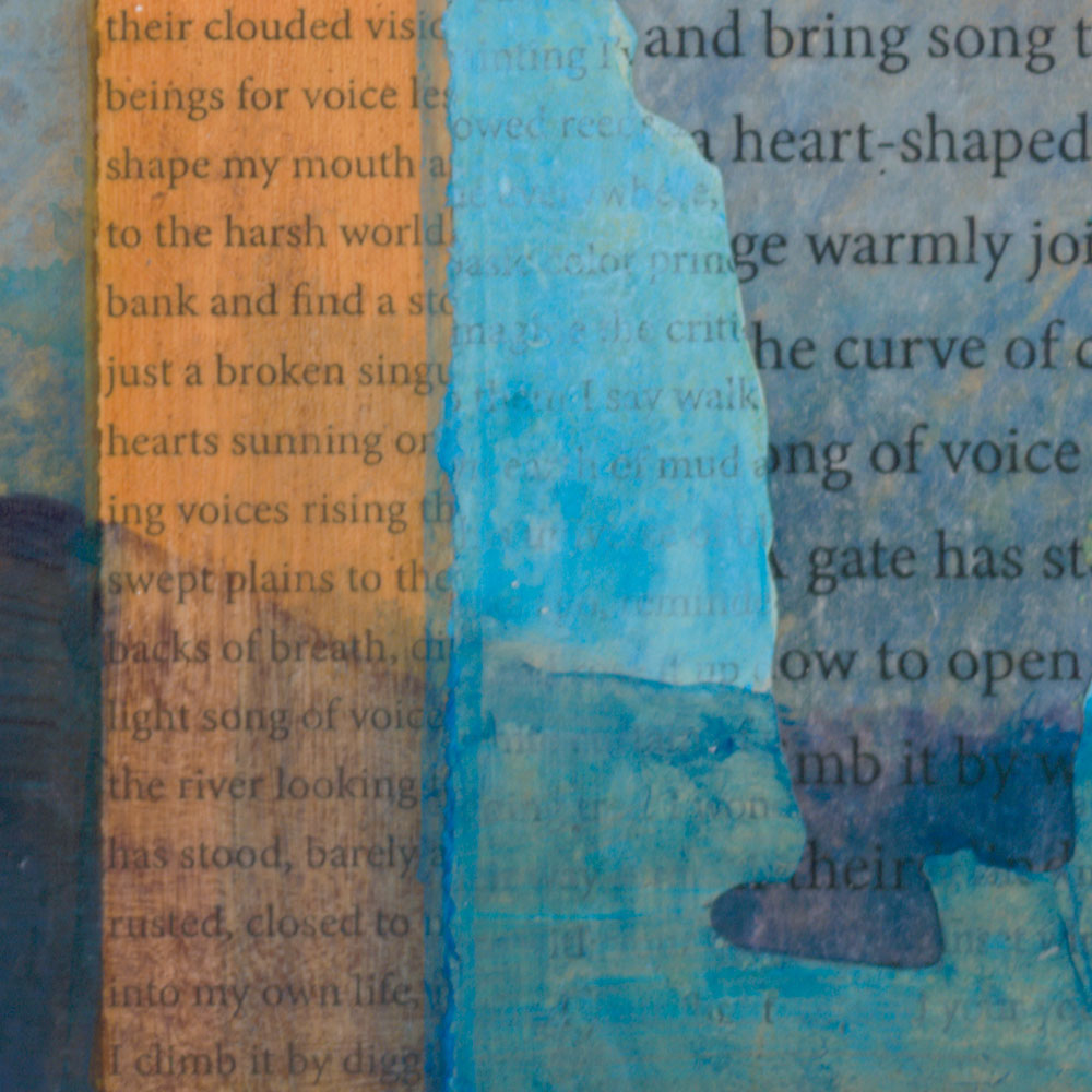 "Detail of - Their Return Brings Song to My Heart - by New Mexico artist Dawn Chandler - mixed media collage on panel - 12"" x 12"""