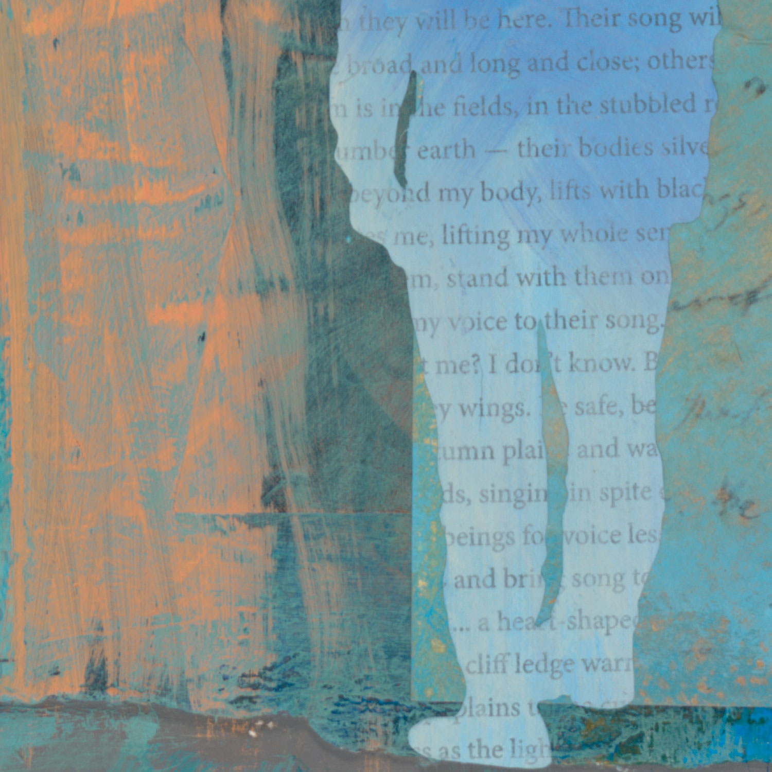 one of the figures is made of text against a sky blue background in the painting They Lift Me - contemporary mixed media landscape painting celebrating the sandhill cranes by New Mexico artist Dawn Chandler