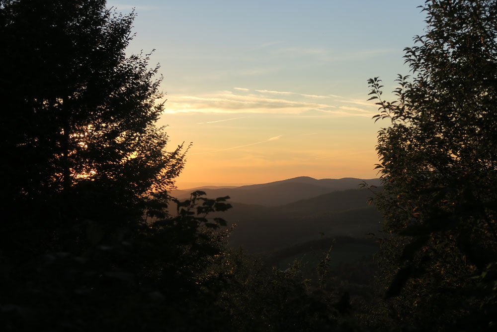 Sunset from Roundtop Shelter, Long Trail, Vermont, photo by artist Dawn Chandler