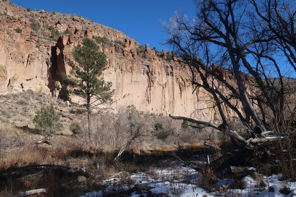 The ancients cliffs shadows of Bandelier National Monument, as observed by artist Dawn Chandler