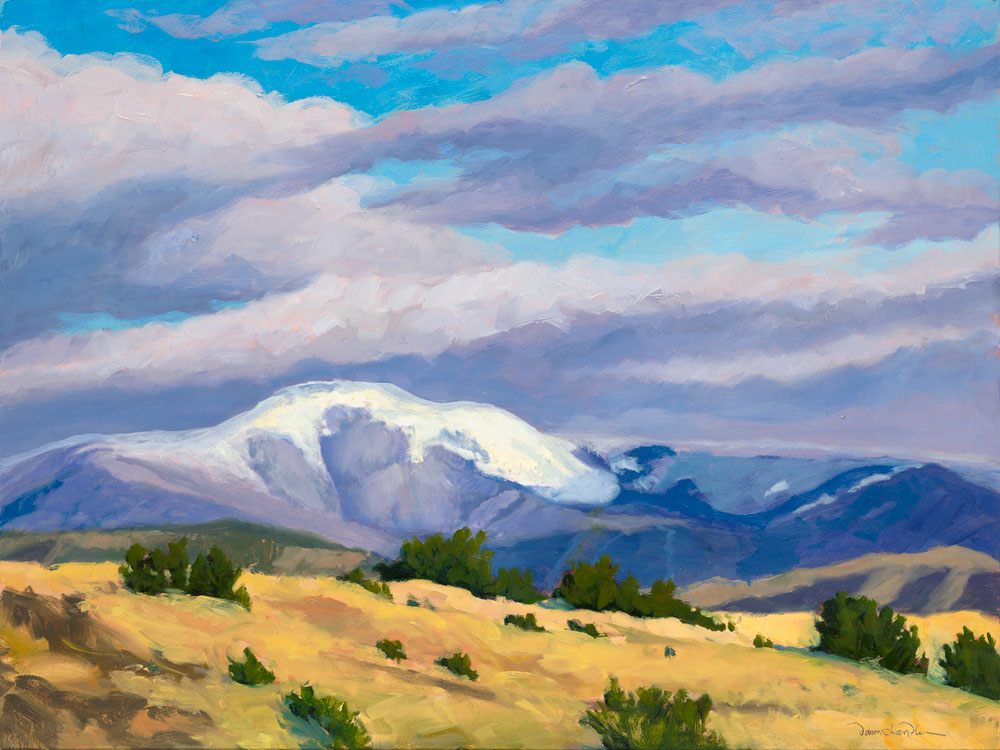 High Country Snow — Philmont's Baldy Mountain, oil painting by New Mexico artist Dawn Chandler, based on a photo by Douglas Fasching