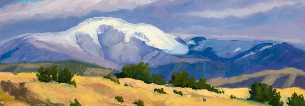 detail of High Country Snow, Dawn Chandler's recent painting of Philmont's Baldy Mountain, shrouded in fresh snow.