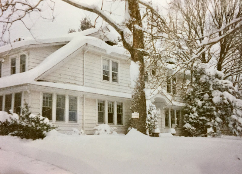 Blanketed in snow, the childhood home in central New Jersey, of artist Dawn Chandler
