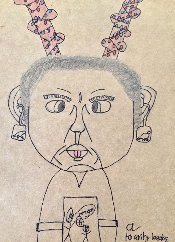 An incredibly accurate portrait of artist Dawn Chandler by her incredibly talented nephew Alex Chandler, December 2018