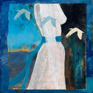 mixed media painting 'She Paused to Listen - They Were Coming Home Again' by artist Dawn Chandler