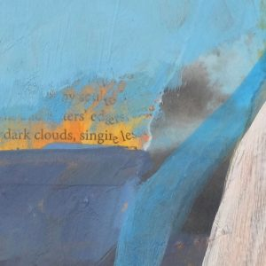 details of mixed media painting 'She Paused to Listen - They Were Coming Home Again' by artist Dawn Chandler