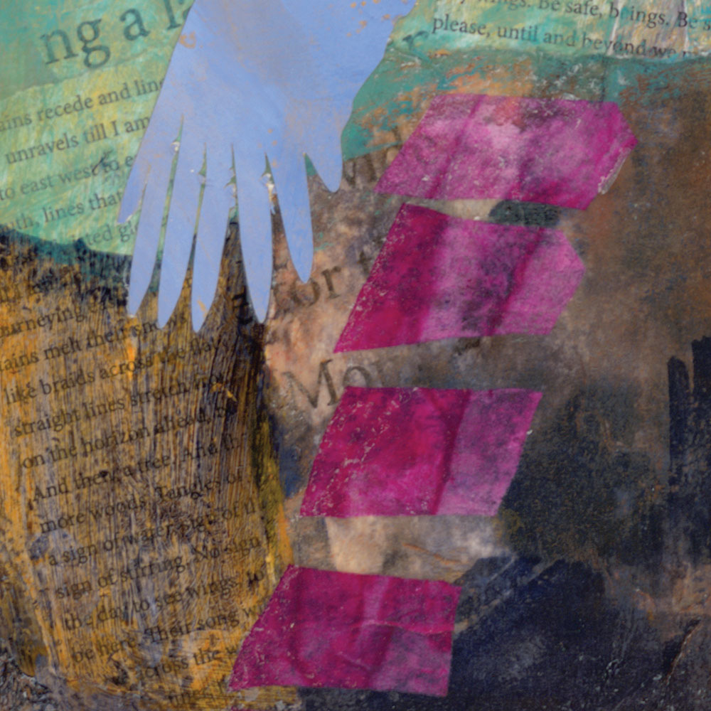 Detail of an abstract pink ladder, tip of a crane wing, and ghosted background text from Their Voices Reach Me and I Ascend, mixed media contemporary landscape painting, 7th of the Crane Series paintings by Dawn Chandler